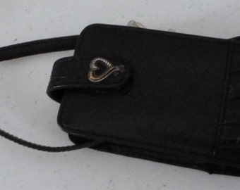 Brighton Black Leather Cell Phone Electronics Case