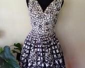 Vintage 50s Cover Girl of Miami Black Rose Lattice Print Cotton Sundress