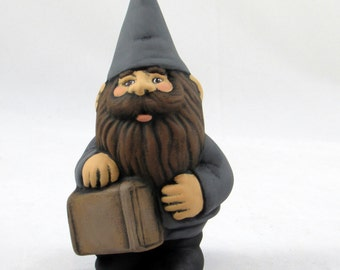 Small Travelling Male Gnome - 5.5 inches, lawn or garden gnome, outdoor or indoor