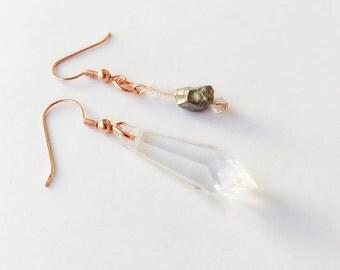 Acrylic Crystal Rose Gold - Mismatch Earrings
