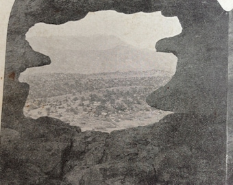 antique stereoview card pike's peak from cave in garden of the gods, colorado