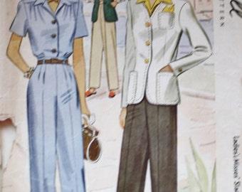 1940s Slacks / Blouse / Blazer Pattern / McCall 5169 / Vintage Sewing Pattern /Bust 36