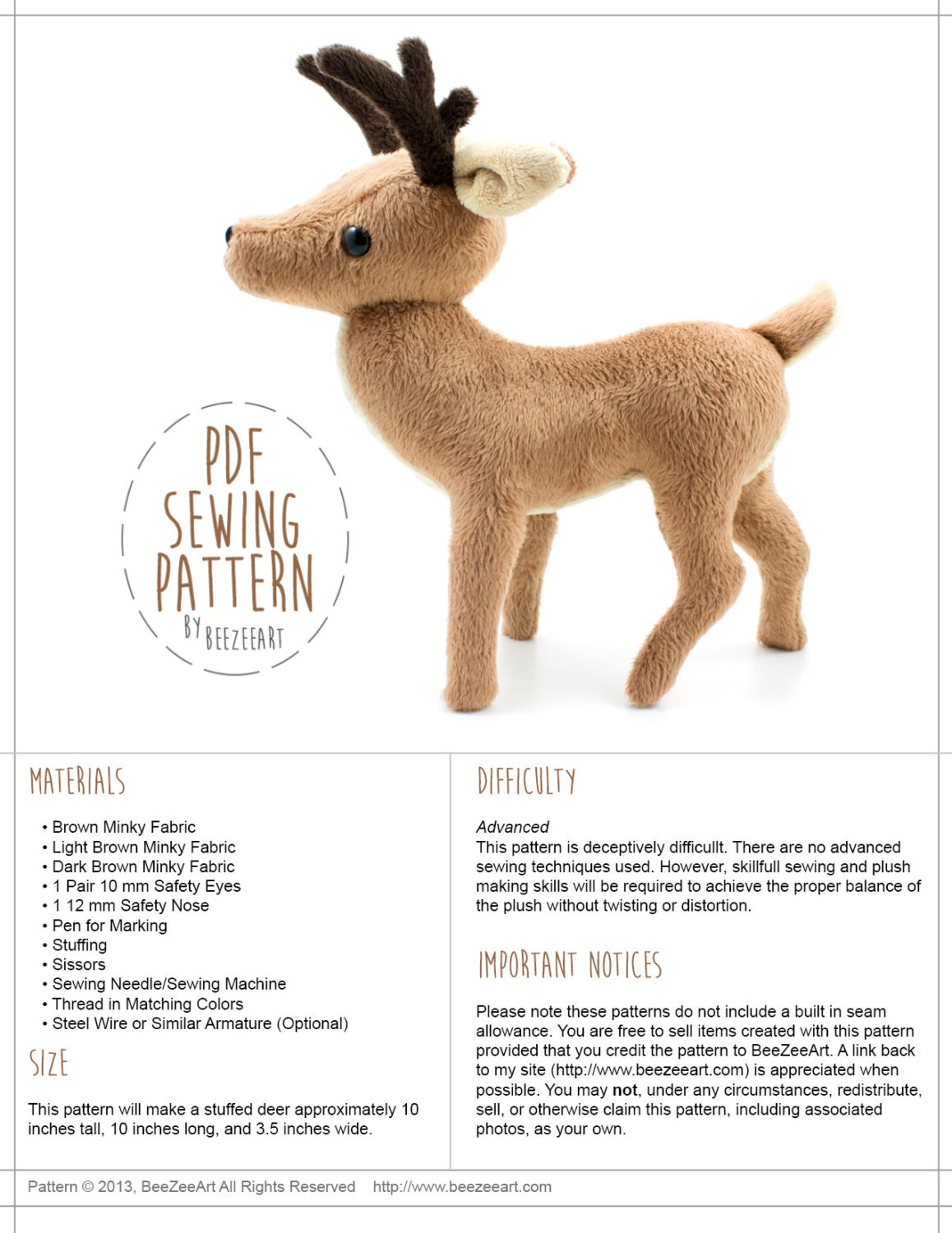 Deer stuffed animal sewing pattern pdf pattern diy sewing for Sewing templates for stuffed animals
