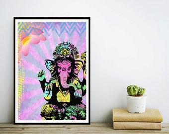 Ganesha Art Print - Inspirational Collage Art - Colorful Painting - Home Decor - Poster - Elephant
