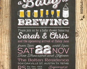 Coed baby shower invitation- Beer baby shower invitation- couples baby shower BBQ - girl baby shower - chalkboard baby shower invitation