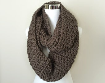 Taupe chunky hand crochet infinity scarf, gift or for you