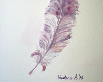Feather illustration, feather artwork, watercolor feather, feather painting, bird feather art, small watercolor art, small painting art