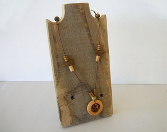 8 Inch Necklace Stand Rustic Wood Necklace Display Made of Weathered Reclaimed Wood Space Saving Take Down Design for Craft Shows