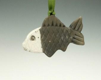 Raku Fish Ornament.  Black and White.  Ready to ship.