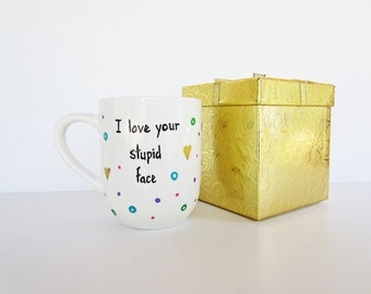 coffee cup- funny coffee mug- hand painted- birthday gift- custom personalized- decorative gift box- gift for her him cute unique glass