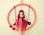 Waldorf Fairy,Felted Needle Waldorf Doll,Pink Fairy,Fairy on the Swing,Fairy Mobile,Children Mobile
