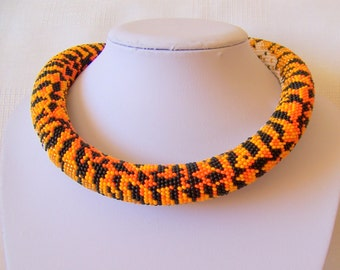 Tiger necklace - Bead Crochet  necklace - Statement necklace - Beadwork Jewelry - modern necklace - wild animal necklace - safari necklace