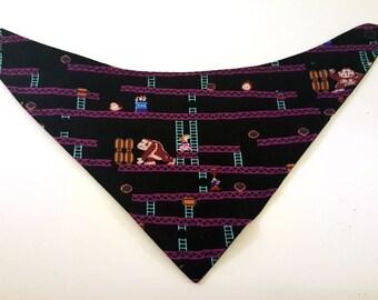 Donkey Kong bandanna bib, reversible