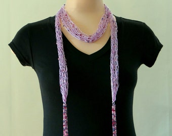 Purple Scarf Beaded Tassel Scarf Waterfall Scarf Beaded Knitted Skinny Scarf Beaded Tassel Belt Beaded Sash Lariat For Mom For Grandmother