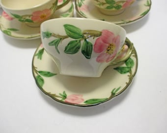 Franciscan China Desert Rose Pattern - Tea Cups and Saucers (USA) - Set of 4 (3 Sets Available)