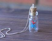 Origami Blue Necklace,  Blue Heart Pendant, Something Blue,  Wedding Vial Necklace