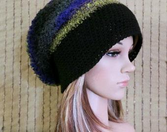 Men Womens Knit Hat, Bohemian Wool Slouchy Hat Chunky Soft Boho Beanie, Gypsy Hand Knit Beanie, Wool Hat, Winter Fall Accessories