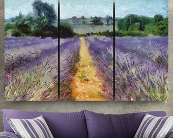 Lavender Fields Canvas Gallery Wrapped Painting Wall Decor Triptych