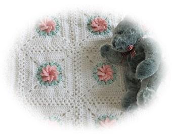 Crochet Baby Blanket - Pinwheel/Rose Baby Blanket - Granny Square Baby Blanket/Afghan