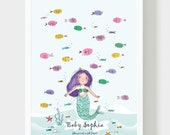 Mermaid Baby Shower Guestbook, Girl Birthday Thumbprint Guest book, Mermaid & Fish In Sea Handmade Drawing, Baptism Personalized Gift, PDF