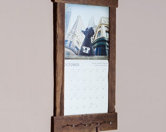 rustic barn wood calendar holder reclaimed calendar frame hanger