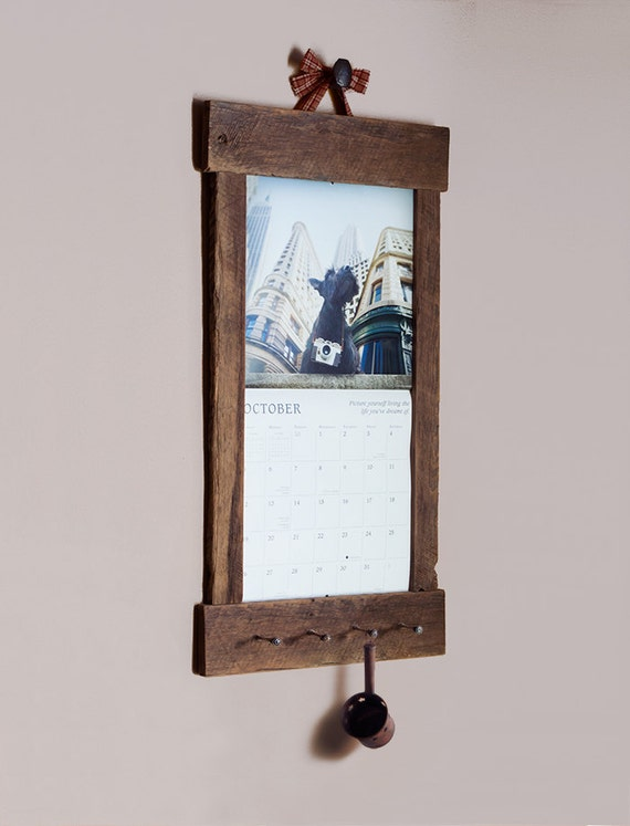 Diy Calendar Frame : Rustic barn wood calendar holder reclaimed frame