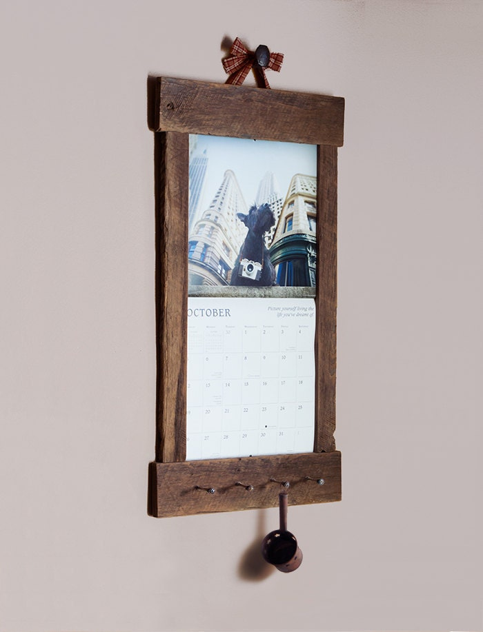 Diy Calendar Hanger : Rustic barn wood calendar holder reclaimed frame