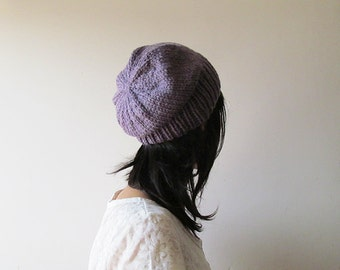 Hand Knitted Chunky Hat in Melange Damson Plum - Slouch Seamless Hat - Winter Hat - Wool Blend - Ready to Ship