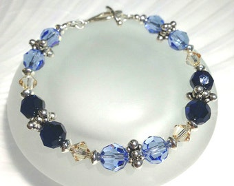 Handmade Beaded Bracelet Blue Crystal Bracelet Crystal Jewelry Swarovski Bracelet Beaded Jewelry Blue Beaded Jewelry