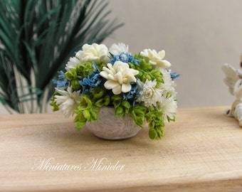 Miniature Dollhouse Asters And Peonies Arrangement In The White Ceramic Flowerpot