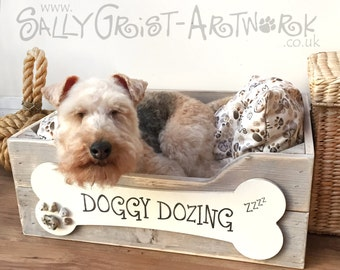 Hand-crafted wooden dog bed, SMALL - exclooosive to the Wet Nosed Friends range!