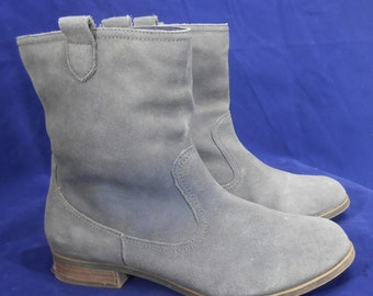 Vintage Blue Suede Ankle Boots  Cowgirl Western Style