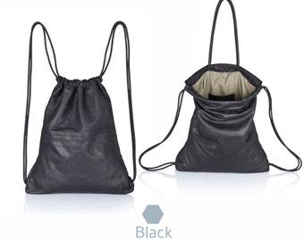 Black leather backpack - multi leather bag SALE sack pack - laptop backpack - mens handbag - leather drawstring backpack - leather rucksack
