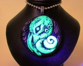 Cthulhu medallion pendant, sculpted polymer clay pendant amulet in glowing green , squid talisman, octopus