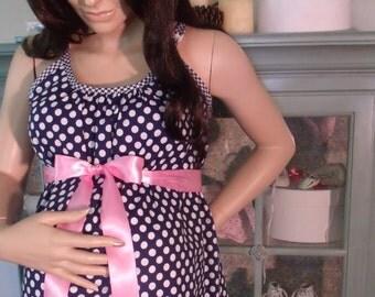 Navy Polka Dot Maternity Hospital Gown for delivery nursing breastfeeding dress