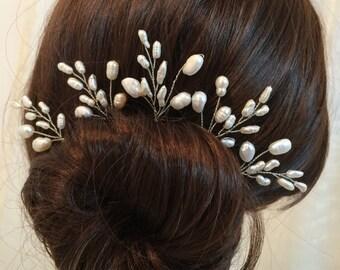 Bridal hair accessories, wedding hair pins, pearl hair accessories for wedding, bridal hair pins, pearl hair piece x5, accessories bridal