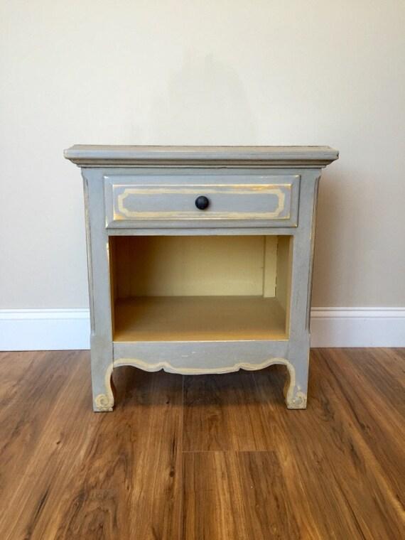 Grey nightstand small nightstand distressed furniture - Gray shabby chic furniture ...