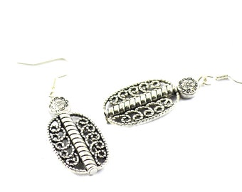 Antique silver filigree earrings casual chic women gift