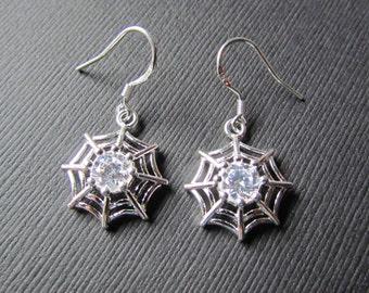 Spider Web Earrings | Halloween Earrings | Sterling Silver Hooks | Spider Jewelry | Cubic Zirconia Earrings