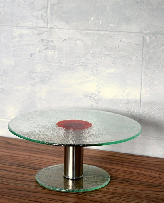 Items similar to unique fused glass cake stand round for Colored glass cake stand