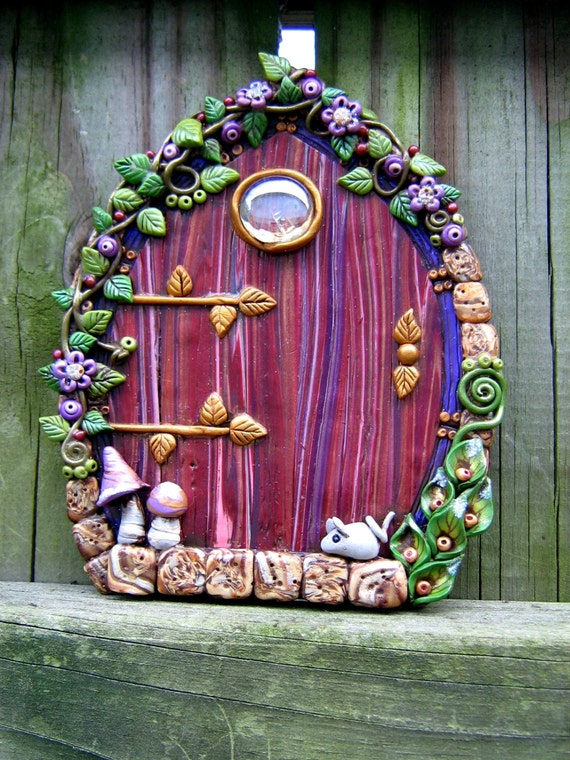 Lavender love fairy door polymer clay pixie portal by pink How to make a fairy door out of clay