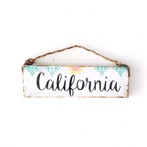 California Sign / Sea Gypsy California / Golden State / Dorm Room/ California Art / gift / welcome sign
