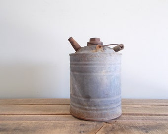 Galvanized Canco Kerosene Can with Wood Handle