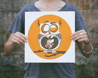 Last Gig - Owl Screen Print. Kids Room Art. Signed Limited Edition of 100. By Artist Matt Douglas