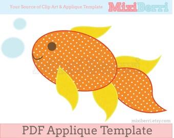 Goldfish Applique Pattern Fish Applique Template PDF Instant Download