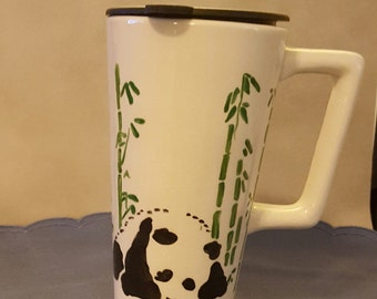 16 oz Covered Travel Mug with Hand-Painted Giant Panda in Bamboo Design
