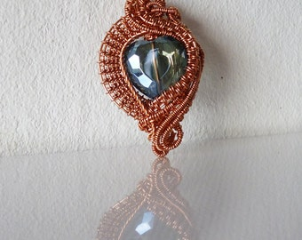 Wire wrapped crystal heart pendant , Copper jewelry