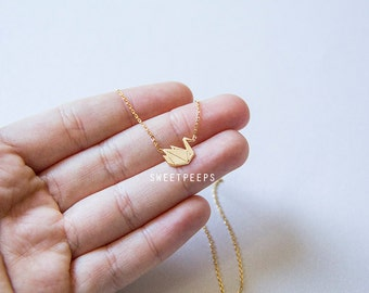Tiny Gold Plated Folded Paper Crane Necklace