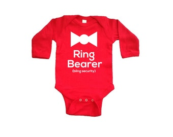 Ring Bearer Onesie. Infant Ring Bearer Shirt. Baby Toddler Ring Security. Wedding Party. Bridal Party Baby Clothing. Long Sleeve Ring Bearer
