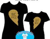 Best Friends Gold Glitter Heart Mommy & Me Shirt Set, Adult and Child Shirt - Gold Glitter Best Friends Heart Shirt Set